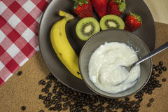 Healthy mix fruit yogurt prepare for meal. Royalty Free Stock Images