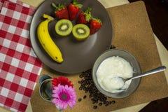 Healthy mix fruit yogurt prepare for meal. Stock Photo