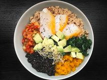 Healthy mix salad. Buddha Bowl With Haddock stock image