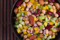 Healthy mixed beans and vegetables salad Royalty Free Stock Photo