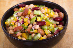 Healthy mixed beans and vegetables salad Stock Image