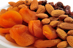 Healthy mixed dried fruit and nuts. Stock Photo