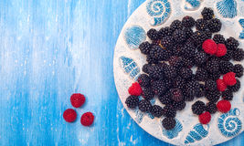 Healthy mixed fruit, Blueberry. Fresh berries. Blackberry, raspberry, on wooden table Royalty Free Stock Image