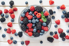 Healthy mixed fruit and ingredients from top view Stock Photos