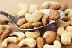 Healthy mixed nuts closeup Royalty Free Stock Photos
