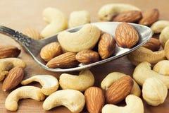 Healthy mixed nuts closeup Royalty Free Stock Photos