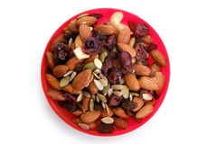 Healthy mixed nuts and dried fruits Royalty Free Stock Images