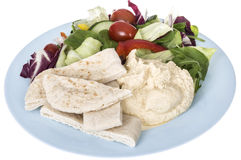 Healthy Mixed Salad with houmous and pitta bread Stock Photo