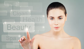 Healthy Model Woman with Virtual Display. Beauty Concept Stock Image