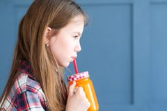 Healthy morning fresh juice child diet nutrition Royalty Free Stock Photography