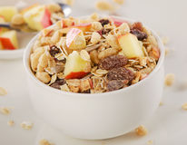 Healthy muesli breakfast with apple Stock Photography
