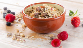 Healthy muesli breakfast with fresh berries Royalty Free Stock Images