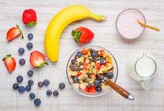 Healthy Muesli Breakfast with fresh organic Fruits and Yogurt royalty free stock photos