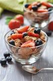 Healthy muesli and fresh berries Stock Photos