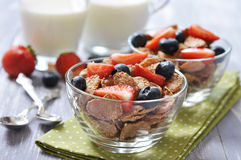 Healthy muesli and fresh berries Stock Photos