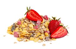 Healthy muesli and strawberries Royalty Free Stock Image