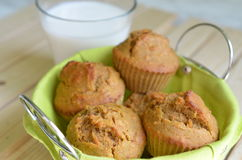 Healthy muffins with milk royalty free stock photos
