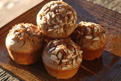 Healthy muffins with sunflower seeds Royalty Free Stock Photo