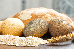 Healthy multi grain bread on wood Royalty Free Stock Photography