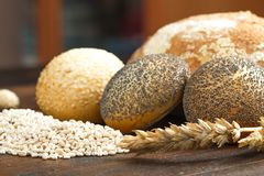 Healthy multi grain bread on wood Stock Photography