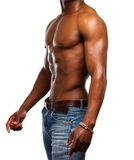 Healthy muscular man with no shirt. Side portrait of a healthy muscular man with no shirt Stock Photos