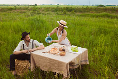 The healthy natural food in the field. Family dinner Royalty Free Stock Images