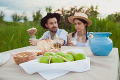 The healthy natural food in the field. Family dinner Stock Photos