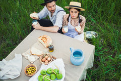The healthy natural food in the field. Family dinner Stock Image
