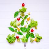 Healthy new year concept - Collection of fresh organic vegetables and greeens in form of christmas tree on white wooden background Stock Images