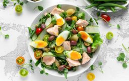 Healthy Nicoise Salad With Salmon, Colourful Sweet Cherry Tomatoes, Olives, Green Beans, Cucumber Ribbons, Soft Boiled Royalty Free Stock Images