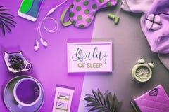 Free Healthy Night Sleep Creative Concept. Sleeping Mask, Alarm Clock, Earphones, Earplugs, Tea And Pills. Royalty Free Stock Photo - 167370415