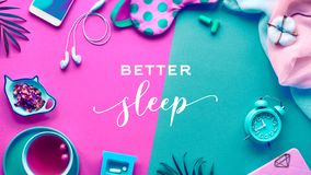 Free Healthy Night Sleep Creative Concept. Sleeping Mask, Alarm Clock, Earphones, Earplugs, Tea And Pills. Split Two Tone, Pink And Royalty Free Stock Image - 167370446