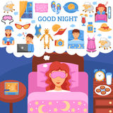 Healthy Night Sleep Tips Flat Poster Stock Photography