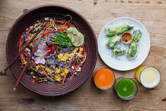 Healthy noodle bowl with juice Stock Photography