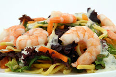 Healthy noodle and prawn diet salad starter. Healthy Chinese - Asian King prawn shrimp salad, consisting of noodles, peppers, lettuce and sauce on white, macro Royalty Free Stock Images