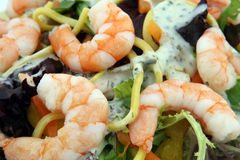 Healthy noodle and prawn salad food diet. Healthy Chinese or Asian King prawn shrimp salad restaurant starter food, with sauce, consisting of noodles, peppers Royalty Free Stock Image