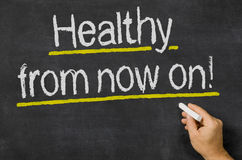 Healthy from now on. Blackboard with the text Healthy from now on Royalty Free Stock Photos