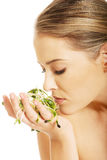 Healthy nude woman smelling a cuckooflower Stock Photos
