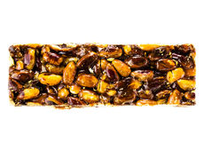 Healthy nut bar isolated on white background. Fitness style life Royalty Free Stock Image