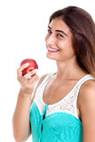 Healthy nutrition. Beautiful natural woman holding a red apple, Stock Image