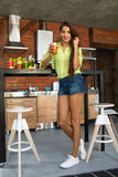Healthy Nutrition. Beautiful Woman Drinking Diet Juice, Smoothie Royalty Free Stock Photo