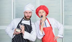 Healthy nutrition. Cooking healthy meal. Just try this. Delicious meal. Woman and bearded man cooking together. Couple stock photo