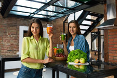 Healthy Nutrition And  Diet Food. Women Drinking Fresh Juice Stock Photography