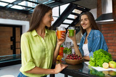 Healthy Nutrition And  Diet Food. Women Drinking Fresh Juice Stock Photo