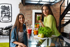 Healthy Nutrition And  Diet Food. Women Drinking Fresh Juice. Healthy Dieting Nutrition And Fitness Food Concept. Closeup Of Beautiful Fit Women Drinking Fresh Royalty Free Stock Images