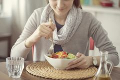 Healthy nutrition eating salad concept stock image