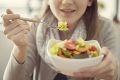 Healthy nutrition eating salad concept royalty free stock image