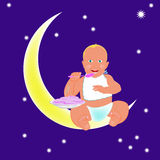 Child and yellow moon Stock Image