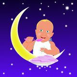 Child and yellow moon Royalty Free Stock Photography