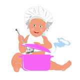 Chef Child and big saucepan Royalty Free Stock Photo
